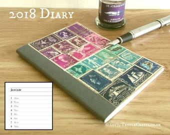 2018 Diary, Purple Blue Planner Notebook | New Year Gift Stocking Filler | Upcycled Postage Stamps | Recycled Art A6 Month Planner, Agenda