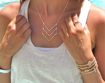 Silver Triple Chevron Necklace - Gold Chevron Necklace - Silver Chevron Necklace