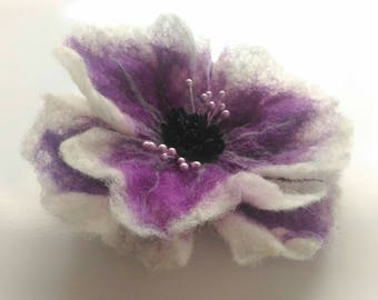 Purple Flower brooch, Felted brooch, Purple brooch pin and clip, Jewerly, Handmade, Unique, Hair Accessories