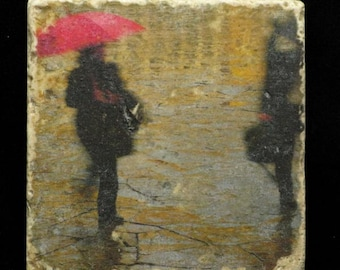 Set of 4 Marble Coasters - Red Umbrella in the Piazza in Florence Italy