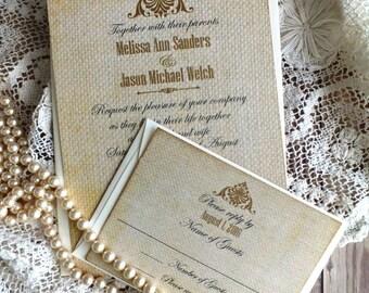 Vintage Elegant Romantic Burlap Wedding Invitation Suite Handmade by avintageobsession on etsy