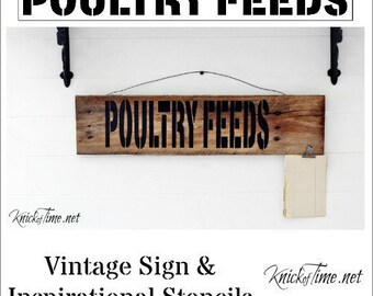 Farmhouse Feed Store Sign Stencil Poultry Chickens  Home Decor Vintage Sign Stencils