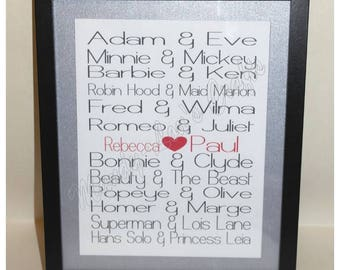 Handmade, Personalised Frame. Famous Couples