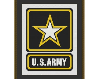 US Army Logo Counted Cross Stitch Pattern (125 x 166 stitches) in PDF for Instant Download