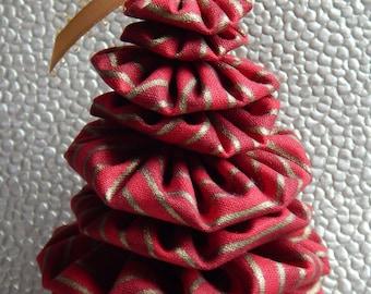 Red and Gold Striped Fabric Tree Yo Yo Ornament