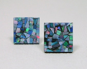 MOSAIC OPAL 10mm Square Cabochon Nickel Free Titanium Post Stud Earrings Artsy Australian Multi Color Gemstone