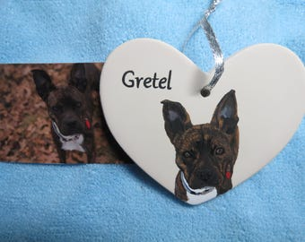 Pet Portrait Ceramic Memorial Ornament Hand Painted and Made to Order French Bulldog by Pigatopia