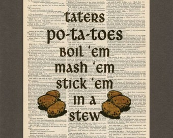Taters, LOTR, Dictionary Art Print, Upcycled Dictionary Page, Old Book Art, Decorative Wall Art, 041