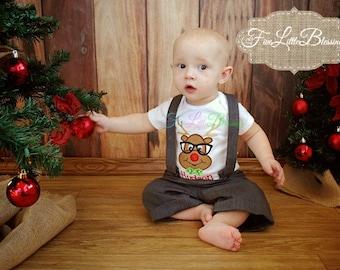 Reindeer - Santa - first Christmas shirt  - Going to see Santa - Holiday shirt  - Rudolph - boy Christmas shirt