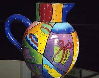 Studio Designworks Holiday Christmas Colorful Pitcher 64 Ounces MINT! FUNKY ARTSY