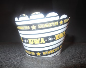Iowa Hawkeye Cupcake Wrappers- Set of 12 College Football Sports Athletics