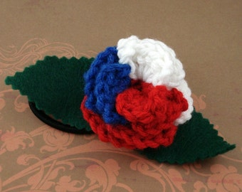 Crocheted Rose Ponytail Holder or Bracelet - Red, White, and Blue (SWG-HP-HEAM01)