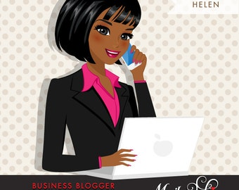 Dark Skin / African American Blogger Character in Business outfit with laptop and mobile. Chic Character Design for Web, Blog & Social Media