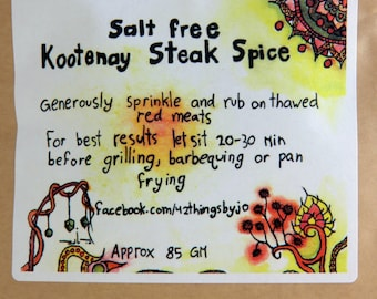 Salt Free Kootenay Steak Spice - Sans Sel Steak Seasoning - Meat Rub - Steak Rub - Smokey Meat Flavour