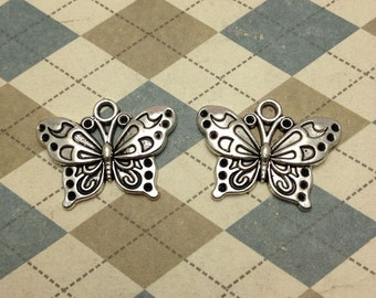20 pcs of Antique Silver Butterfly Connector Charms 15mmx25mm