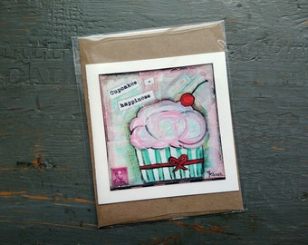 SALE! Cupcake card, Cake Art, Whimsical Cupcake, Sale Card, Clearance Card, greeting card note card, Mixed Media Art, Cupcakes = Happiness