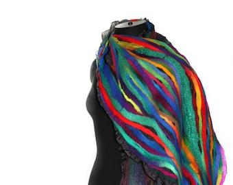 Handmade Nuno Felted Scarf Multicolor Long Felt Scarf OOAK Felt Gift By FeltedPleasure