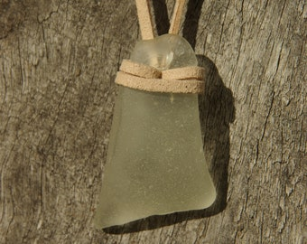 Clear sea glass pendant necklace