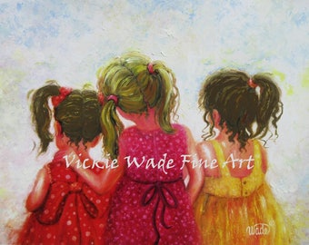 Three Sisters Art Print, three girls art, childrens art, three daughters, two brunettes one blonde girl, mother's day gift, Vickie Wade art