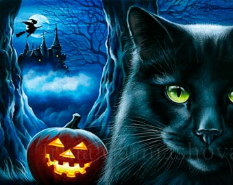 Halloween Cat ACEO Print Enchanted Castle by Irina Garmashova