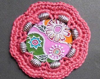 Flower sewing Bohemian spirit with shrink plastic and hook