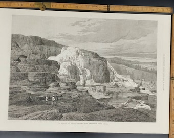 Mammoth Hot Springs, Gardiner's River, Yellowstone   Large Antique Engraving