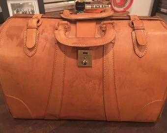 Vintage Mustard Yellow Leather Weekender Bag