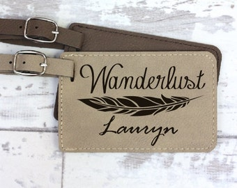 Luggage Tag - Personalized with Name And Feather - Wanderlust