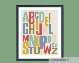 modern cross stitch pattern, alphabet, ABC,  PDF pattern ** instant download**