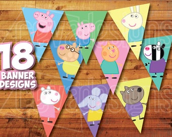 18 Printable Peppa Pig Birthday Party Banner / Bunting / Penants Instant Digital Download