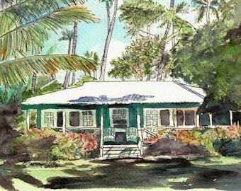 Kauai Green Cottage art print 5x7 from Kauai Hawaii waimea plantation