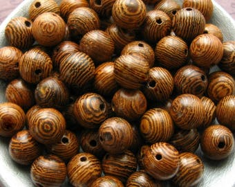 8mm Striped Brown Wooden Beads - Over 70 - 8mm Brown Wood Beads, Natural Dark and Light Brown Striped Beads, Lead Free, Glossy  (WBD0164)