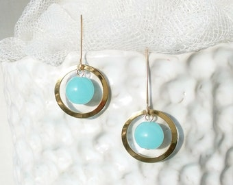 Gold Filled,Gold,Earrings,Hook,Jewelry,Gift for her,Gemstone,Turquoise Blue, Pendant,Modern,Blue Sponge Quartz