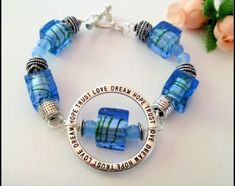 Blue Square Lampwork Chunky beaded Bracelet with Inspirational Words Charm