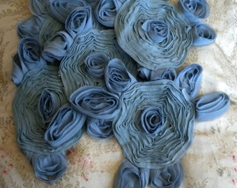 Steel Blue Soft Chiffon Poly Rosettes