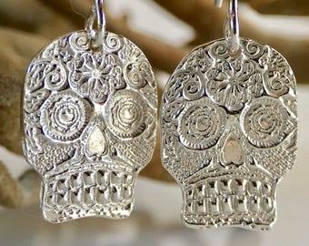 Day of the Dead Earrings #2 Dia de los Muertos Earrings Silver Sugar Skull Earrings Sugar Skull Jewelry Halloween/Gothic skull