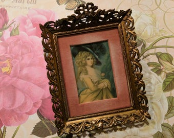 Antique French Victorian Rococo Style Framed Portrait Miniature Print Of Georgiana Cavendish Duchess of Devonshire In Gold Dore Frame