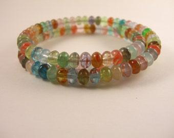 SALE! Glass Memory Wire Bracelet
