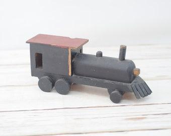"""Vintage Folk Art Handmade 15"""" Toy Train Engine Folk Art Wood Train Wood Toy"""