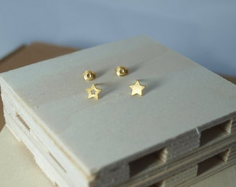 Stars Jewellery Stud Earrings Gold Vermeil Silver Rose Gold-Plated Black Patina Pink Free Shipping On Sale Mix and Match Studs Gift Summer