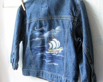 Kids Denim Upscaled Jacket, Painted Childs Denim Jacket with Sailing Ship, Pirate, Size 2, Toddler Jacket, Nautical, Painted, Upscaled