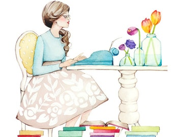 The Writer - Girl and Typewriter - Watercolor -  Art Painting Print