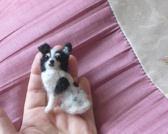 Your dog as a cute Pin / Custom  Needle Felted Miniature Pet Portrait / Sculpture Brooch / example long coated Chihuahua
