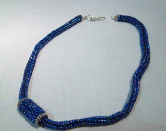 Woven Seed Bead Necklace - Blue with Silver