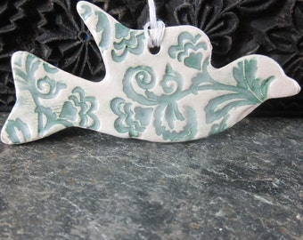 Teal and White Stoneware Flying Dove Ornament
