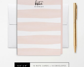 Flat or Folded Note Cards // Set of 10 // Watercolor Pinky-Peach Pastel Stripes // Personalized Stationery // S116