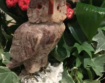 Beautiful crystal owl made out of crystal & standing on a bed of crystal - Power Totem Animal, Wisdom, Knowledge, Magic, Omens, Vision