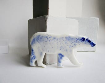 Polar Bear - Handpainted porcelain wall hanging/ornament,small sculpture ( for shadow box)