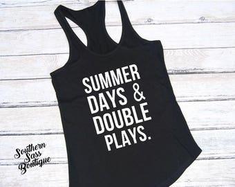 Summer days and double plays, Baseball mom, Softball mom, Softball shirt, Baseball shirt, Baseball, Softball life, Mom life, Mom tee