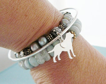 Labrador Retriever Dog Bangle Bracelet, Sterling Silver Personalize Pendant, Breed Silhouette Charm, Rescue Shelter, Mothers Day Gift